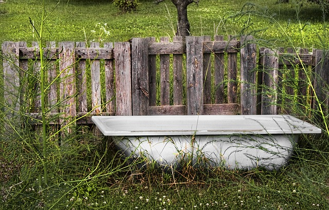 vana na zahradě